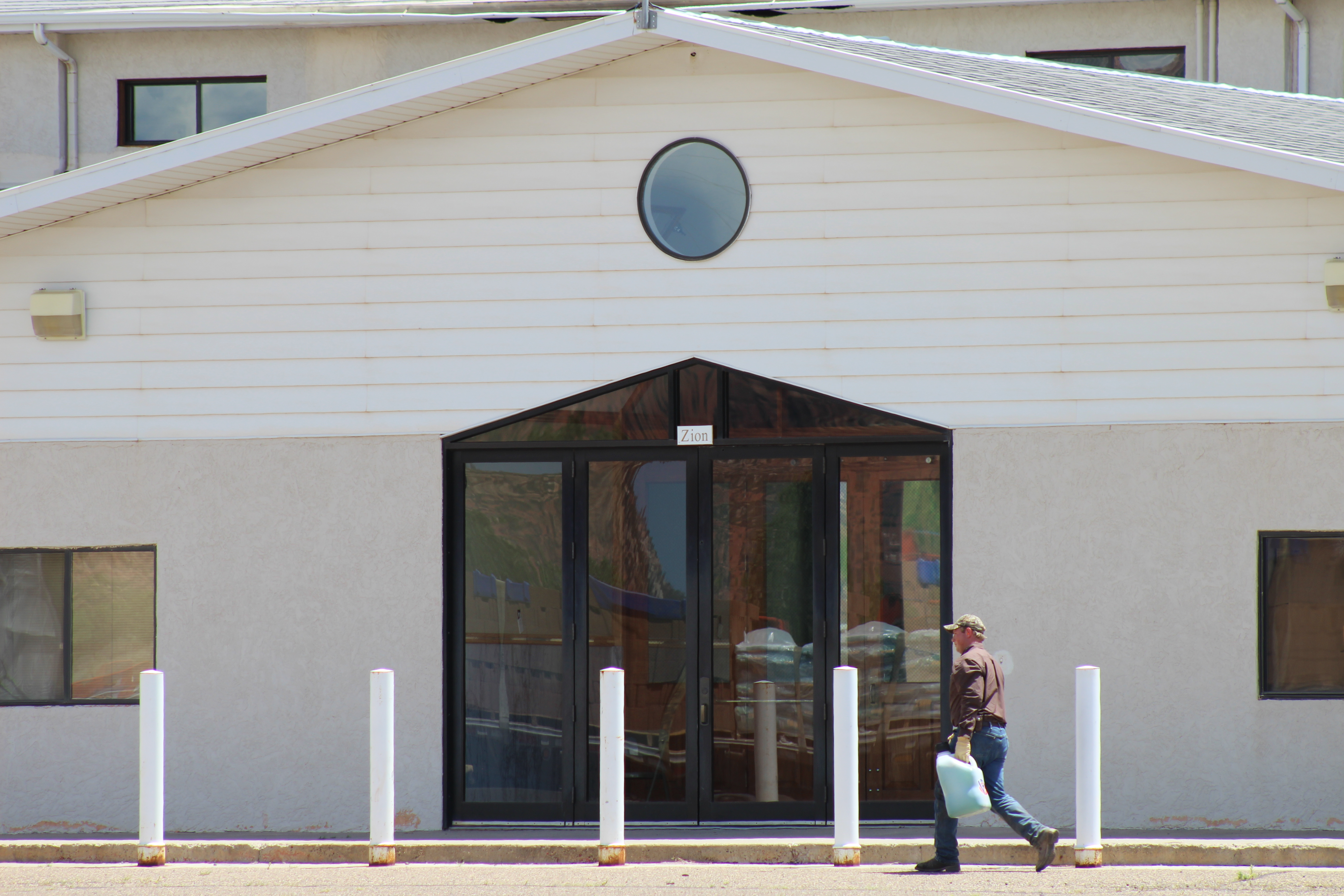 The Zion plaque rests over the front entrance of the Leroy S. Johnson Meeting House, Colorado City, Arizona, July 2, 2015   Photo by Nataly Burdick, St. George News