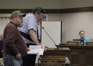 Robin Haight and Wade Grimm adress information availablility at Cedar City Council, Council Chambers, Cedar Cty, Utah, July 8, 2015 | Photo taken by Carin Miller, St. George News