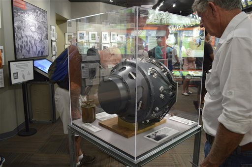 "This photo shows a visitor to the Bradbury Science Museum in Los Alamos, N.M. examines a replica of ""the gadget"". The gadget was the atomic bomb tested at the Trinity Test Site on July 16, 1945. Thursday marks the 70th anniversary of the Trinity Test in southern New Mexico and comes amid renewed interest in the Manhattan Project thanks to new books, video oral histories and a WGN America television drama series, Los Alamos, N.M., July 13, 2015 