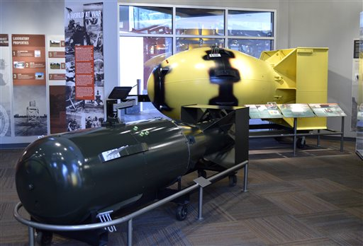 "This photo shows replicas of atomic bombs ""Little Boy,"" left, and ""Fatman,"" both dropped on Japan during World War II, sit at the Bradbury Science Museum in Los Alamos, N.M. Thursday, July 16, marks the 70th anniversary of the Trinity Test in southern New Mexico and comes amid renewed interest in the Manhattan Project thanks to new books, video oral histories and a WGN America television drama series, Los Alamos, N.M., July 13, 2015 