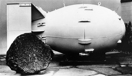 "This photo shows a ""Fat Man"" nuclear bomb of the type tested at Trinity Site, N.M, and dropped on Nagasaki, Japan in 1945, on view for the public at the Los Alamos Scientific Laboratory Museum. Thursday, July 16, 2015 marks the 70th anniversary of the Trinity Test in southern New Mexico comes amid renewed interest in the Manhattan Project thanks to new books, online video testimonies and the WGN America drama series Manhattan, Oct., 15, 1965, Los Alamos, N.M. 