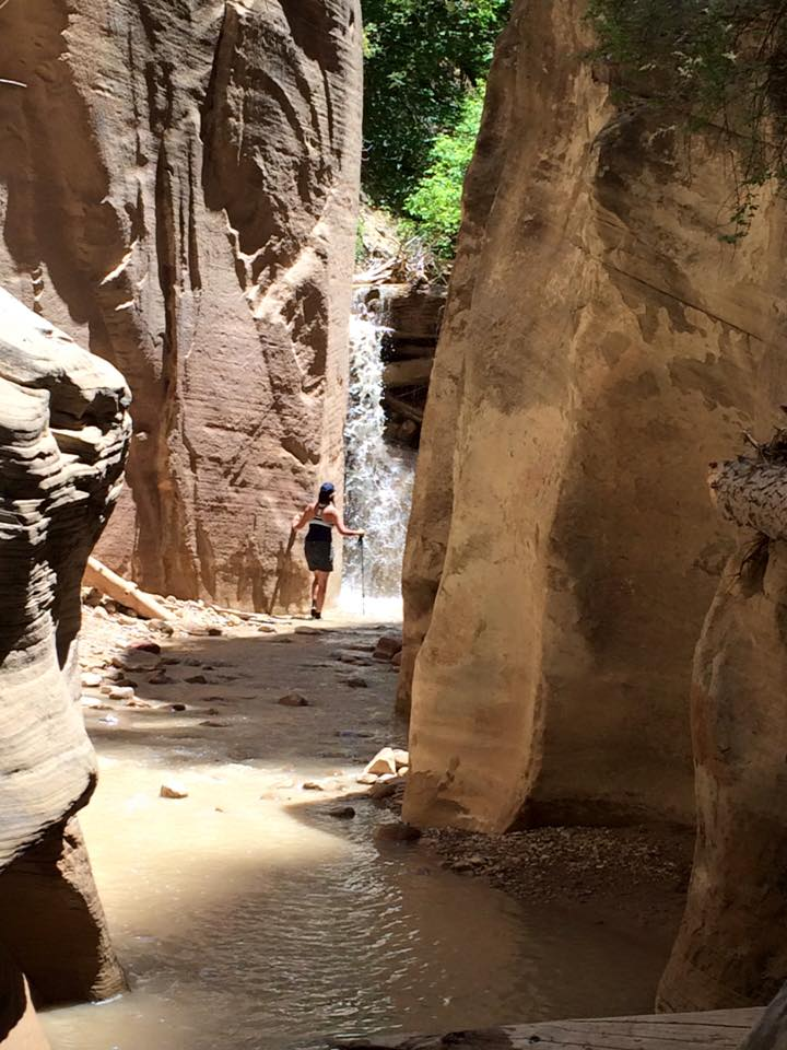 Cimarron Chacon takes a closer look at a waterfall on The Narrows hike of Zion National Park, July 1, 2015 | Photo by Hollie Reina, St. George News