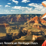 Photo of Grand Canyon National Park with Native American in the foreground, Grand Canyon, Arizona | Image by Brett Barrett, St. George News, Grand Canyon photo courtesy of the National Park Service, St. George News