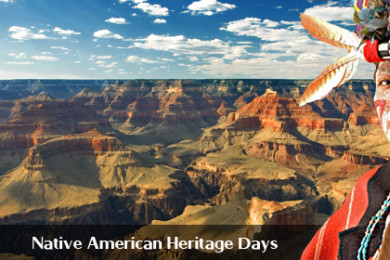 Photo of Grand Canyon National Park with Native American in the foreground, Grand Canyon, Arizona   Image by Brett Barrett, St. George News, Grand Canyon photo courtesy of the National Park Service, St. George News