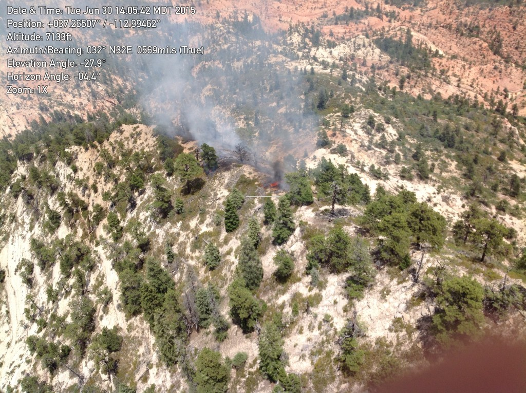 The Phantom Fire, June 30, 2015, Zion National Park | Photo courtesy of David Eaker, St. George News | Click image to enlarge