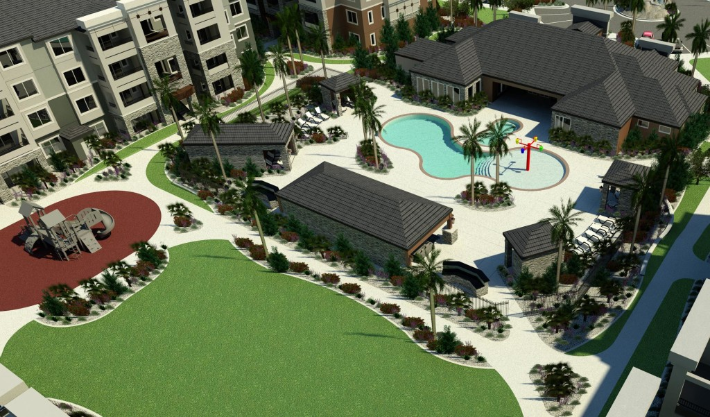 A computer-generated image of the pool area for the planned Greyhawk Apartments at River's Edge, St. George, Utah | Photo courtesy of Cushman & Wakefield, St. George News