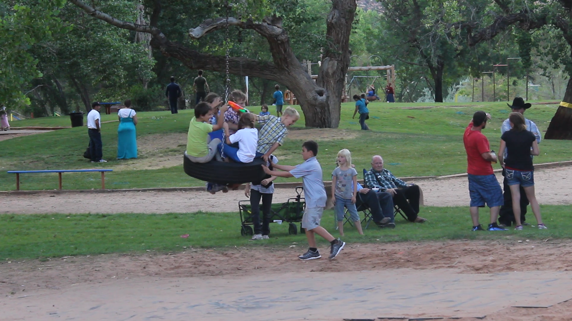 Children play at Cottonwood Park in the biggest celebration the town has seen in 13 years, Colorado City, Arizona, July 4, 2015 | Photo by Nataly Burdick
