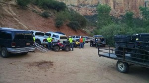 Emergency personnel respond to rescue an injured woman in Water Canyon, near Hildale, Utah, July 28, 2015 | Photo courtesy of Washington County Search and Rescue, St. George News