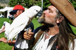 Performer Delbert Cummens, of Cedar City, and his parrot Sonny, Cedar City, Utah, July 12, 2014 | Photo by Cami Cox Jim, St. George News