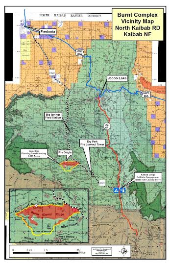 Map of the Burnt Complex Fire in Kaibab National Forest   Map courtesy of Kaibab National Forest Public Affairs, St. George News   Click image to enlarge