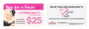 Example of the gift card sold for the Kisses at the Kycie fundraiser to be held at Christensen's Department Stores | Photo courtesy of Christensen's Department Store, St. George News