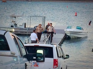 Authorities remove the body of a 26-year-old drowning victim at Sand Hollow State Park, Hurricane, Utah, July 22, 2015 | Photo by Kimberly Scott, St. George News