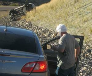 A rollover accident on SR-17 left the driver with minor head injuries, Toquerville, Utah, July 25, 2015   Photo by Ric Wayman, St. George News