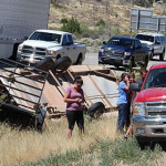 Wind gusts cause two trailers to rollover on southbound Interstate 15 near milepost 34, Washington County, Utah, July 26, 2015 | Photo by Ric Wayman, St. George News