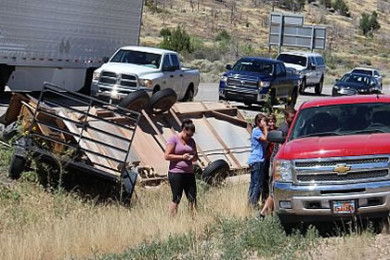 A car ended up in a ditch off Southern Parkway when the driver reportedly suffered a diabetic episode, St. George, Utah, July 2, 2015 | Photo by Ric Wayman, St. George News