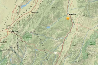 A 3.9 magnitude earthquake rattled Panguitch, Panguitch, Utah, July 4, 2015 | Map courtesy of USGS, St. George News