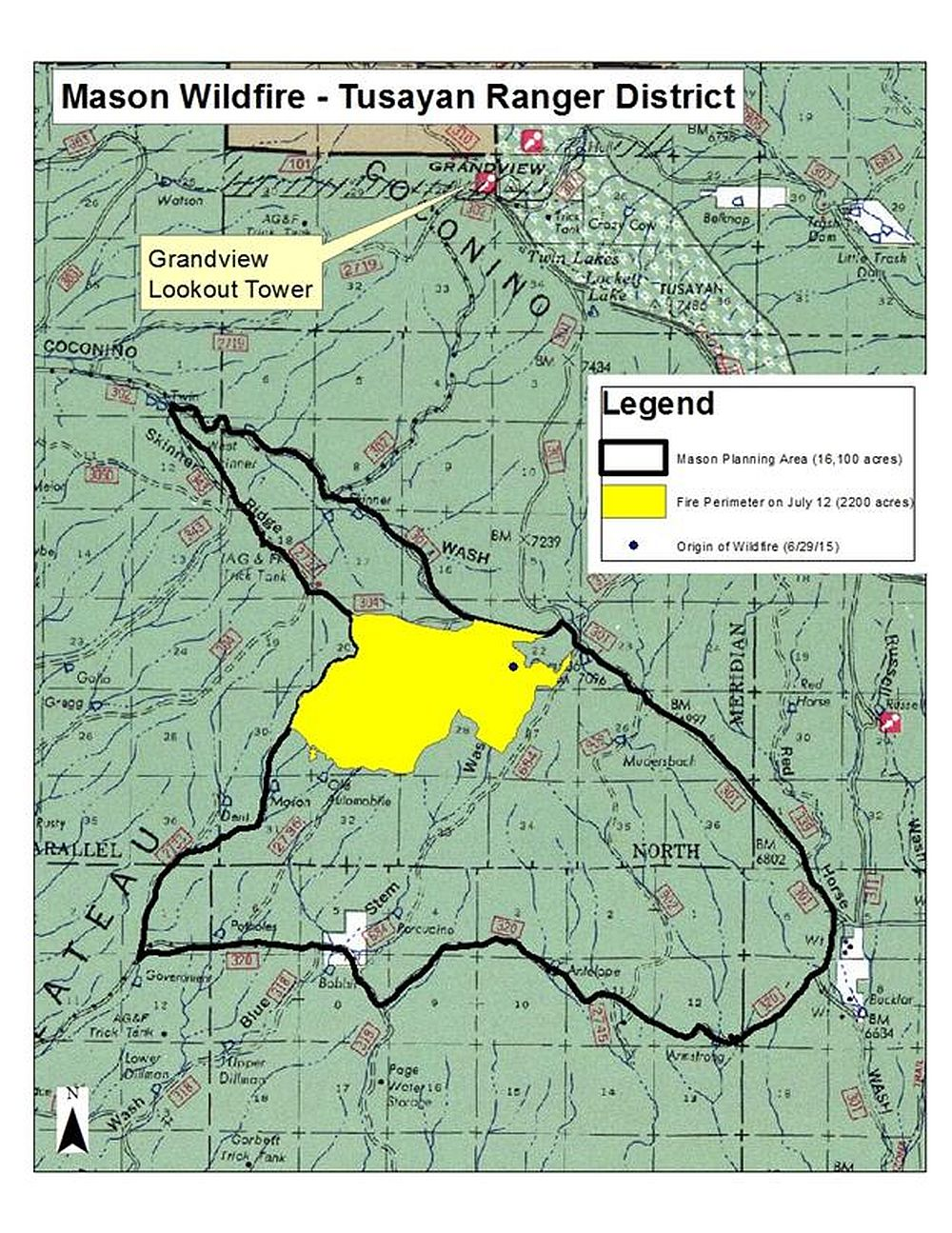Map Showing The Fire Burn Area Of The Combined Mason And Old Fires In Arizona