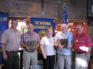"""Pictured left to right, Brett Labrum, St. George Exchange Club president; Robert Powell of Southwest Behavioral Health Center; Mae and JC Broadhead; and Mark Loosli, """"Proudly We Hail"""" program chair, St. George, Utah, June 12, 2015 