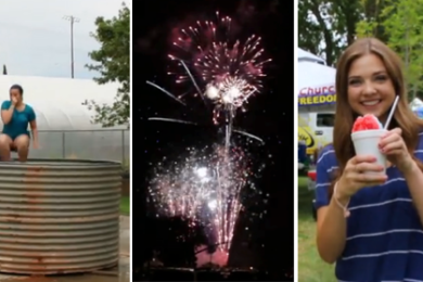 L-R: Dunking booth; fireworks; snow cones aplenty among many  eats and treats offered. Venues:  Vernon Worthen Park and Dixie SunBowl, Fourth of July festivities, St. George, Utah, July 4, 2015 | Photos by Sheldon Demke, St. George News
