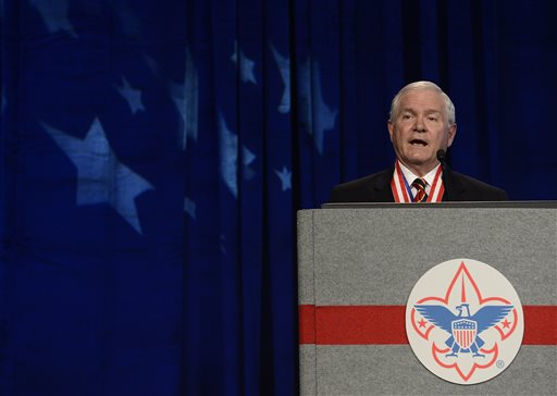 Former Defense Secretary Robert Gates addresses the Boy Scouts of America's annual meeting in Nashville, Tenn. after being selected as the organization's new president. The Boy Scouts of America on Monday, July 27, 2015, ended its blanket ban on gay adult leaders while allowing church-sponsored Scout units to maintain the exclusion for religious reasons, Nashville, Tenn., May 23, 2014   AP File Photo by Mark Zaleski, St. George News