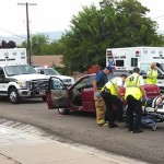 Gold Cross medics and other responders at the scene of a five-car accident at the intersection of 100 South and 700 East, St. George, Utah, July 23, 2013 | Photo by Mori Kessler, St. George News