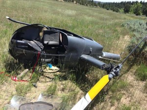 A St. George man and his son were transported to two different hospitals following a helicopter crash, Garfield County, July 12, 2015 | Photo courtesy of Terrason Spinks, St. George News