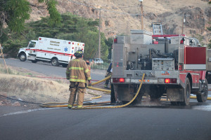 Firefighters put out a fire on 180 West, Hurricane, Utah, July 15, 2015 | Photo by Nataly Burdick, St. George News