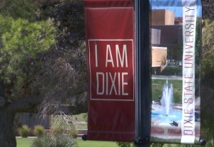 "A ""I am Dixie"" banner at DSU. Danelle Larsen-Rife, a professor at the university, says the school needs a new name that isn't associated with the Confederacy, and by association, racism and hate, Dixie State University, St. George, Utah, July 16, 2015 