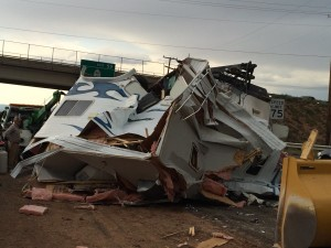 Northbound I-15 at milepost 58 in Cedar City was stalled by the rollover of a pickup truck and trailer. No injuries were reported, Cedar City, Utah, July 2, 2015   Photo by Carin Miller, Cedar City News