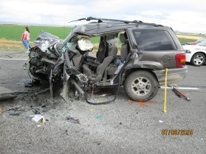 A 2000 Jeep Grand Cherokee collided head-on into a 2013 Honda Civic on southbound I-15 near Filmore, Utah, leaving two people dead and two others in critical condition, Millard County, Utah, July 8, 2015 | Photo courtesy of the Utah Highway Patrol, St. George News