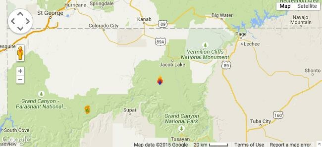 Fire icon indicates location of the fires | Map courtesy of Google Maps, St. George News | Click map to enlarge