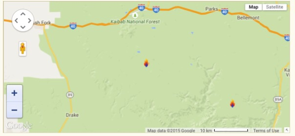 A map showing the location of the Springs Fire   Map created by Google Maps, St. George News