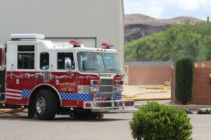 Fire trucks from around Southern Utah were on scene for a fire at SKF Manufacturing, LaVerkin, Utah, July 11, 2015   Photo by Nataly Burdick, St. George News