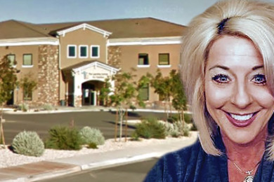 Image composite: Forefront: Suzanne Leonelli; background: The Learning Center at 2044 Mesa Palms Drive, St. George; locations and dates not specified   Photo courtesy of The Learning Center for Families, graphic by St. George News