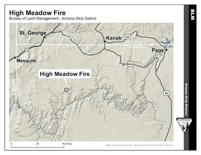 The High Meadow Fire located 55 miles southeast of St. George  totaled 208 acres over the July 17 weekend. Recent rains delivered significant moisture have diminished the fire, St. George, Utah, July 17, 2015   Map courtesy of BLM Arizona Strip District, St. George News