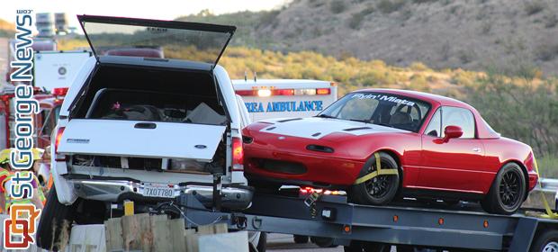 Truck Hauling 2 Miatas Crashes Hangs Above Steep Drop Off