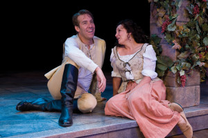 "David Ivers (left) as Benedick and Kymberly Mellen as Beatrice in ""Much Ado about Nothing"" at the Utah Shakespeare Festival, Cedar City, Utah, 2010 