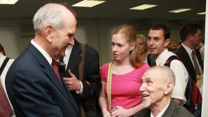 Elder Russell M. Nelson greets a church member in Moscow, Russia, circa 2011 | Photo courtesy of The Church of Jesus Christ of Latter-day Saints, St. George News