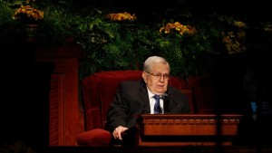 President Boyd K. Packer, of the Quorum of the Twelve Apostles, speaks at the Sunday afternoon session of general conference, Salt Lake City, Utah, April 6, 2014 | Photo courtesy of The Church of Jesus Christ of Latter-day Saints, St. George News