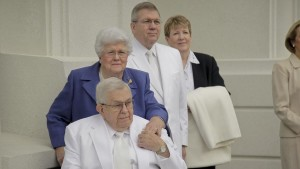 President Boyd K. Packer, his wife Donna and their son Elder Allan F. Packer, of the Quorum of the Seventy, and his wife, Terri, participate in the cornerstone and dedication of the Brigham City Utah Temple, Brigham City, Utah, date not specified | Photo courtesy of The Church of Jesus Christ of Latter-day Saints, St. George News