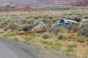 A car hit a power pole on Sand Hollow Road, taking down the pole and a power line, Hurricane, Utah, July 3, 2015 | Photo by Nataly Burdick, St. George News