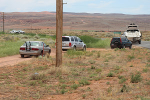 Traffic is rerouted after a car hit a power pole on Sand Hollow Road, taking down the pole and a power line, Hurricane, Utah, July 3, 2015 | Photo by Nataly Burdick, St. George News