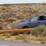 A car hits a power pole on Sand Hollow Road, taking down the pole and a power line, Hurricane, Utah, July 3, 2015   Photo by Nataly Burdick, St. George News
