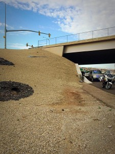 A woman and a baby were transported to the hospital after their vehicle went off a freeway overpass, down an embankment and landed in the middle of northbound Interstate 15 near Bluff Street Exit 6, St. George, Utah, July 2, 2015 | Photo by Kimberly Scott, St. George News