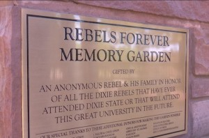 A plaque at the Rebels Forever Memory Garden that sits on the DSU campus. Danelle Larsen-Rife, a professor at the university, says it is related to Confederate imagery that shouldn't be on campus, Dixie State University, St. George, Utah, July 16, 2015 | Photo by Devan Chavaz, St. George News