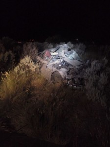 A high speed police pursuit ended in a single-vehicle rollover on Interstate 15 near Summit Exit 71, Iron County, Utah, July 13, 2015 | Photo courtesy of Wayne Hall, St. George News