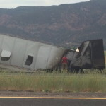 Semitrailer involved in a vehicle fire on northbound I-15 at milepost 28, Kanarravile, Utah, July 3, 2015 | Photo by Carin Miller, St. George News