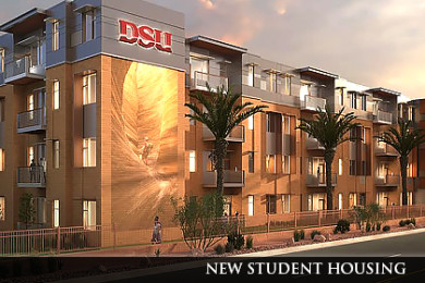 Rendering of new student housing to be constructed on Dixie State University, St. George, Utah   Image courtesy of Dixie State University, St. George News