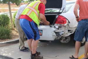 Damage to a vehicle after three collisions within one half mile happened on Interstate 15, Washington, Utah, July 9, 2015 | Photo by Nataly Burdick