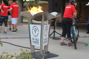 The Flame of Hope is lit during a ceremony at Dixie State University, St. George, Utah, July 3, 2015 | Photo by Nataly Burdick, St. George News